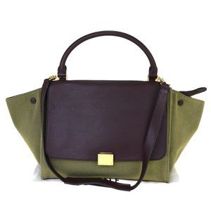CELINE Trapeze 2Way Hand Bag Canvas Leather Green